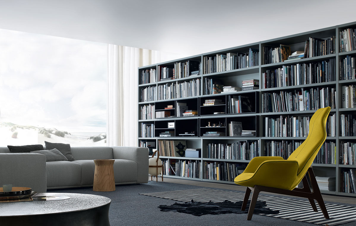 Modular Bookcase High Contemporary Lacquered Wood Wall System Poliform