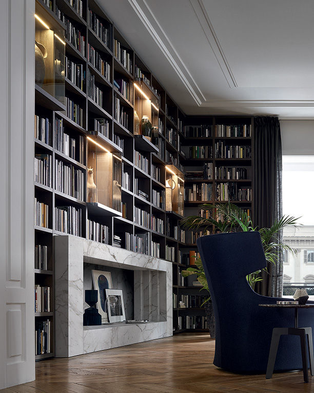 High bookcase / corner / contemporary / lacquered wood - WALL SYSTEM ...