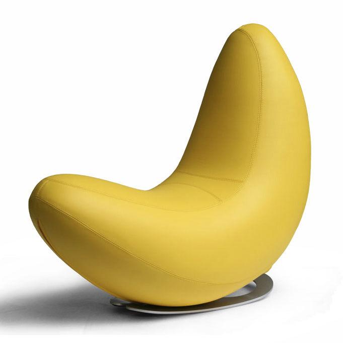 Organic Design Fireside Chair / Leather / Steel / Rocker ...
