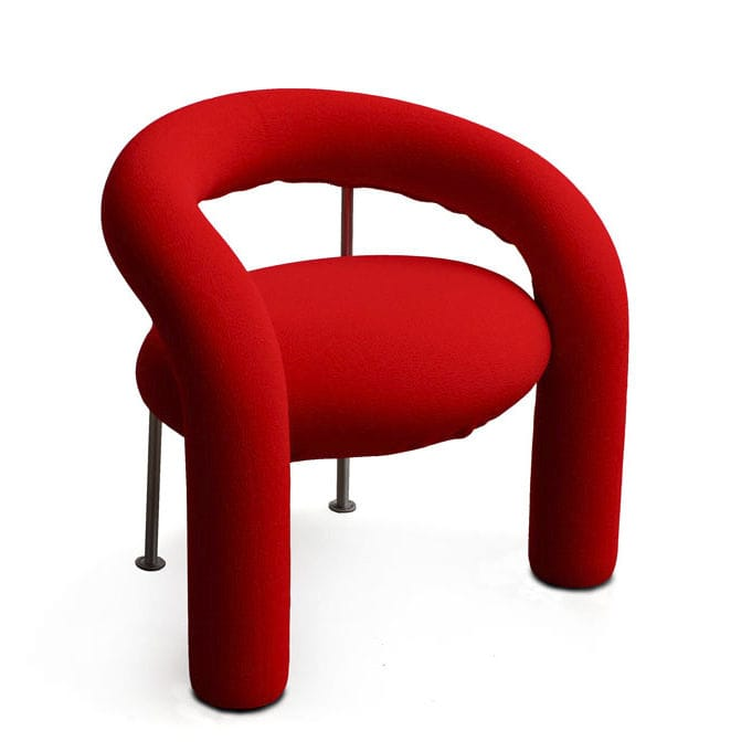 Contemporary chair / with armrests / upholstered / fabric - TUBE by ...