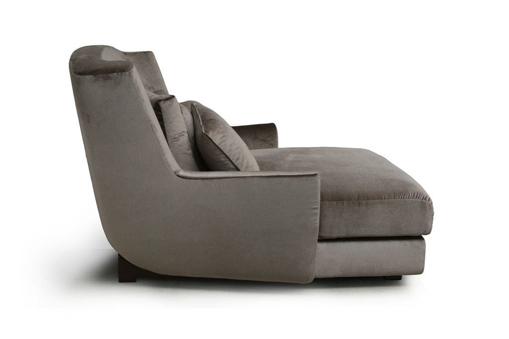 Contemporary chaise longue / fabric / leather / wooden - SALON ...