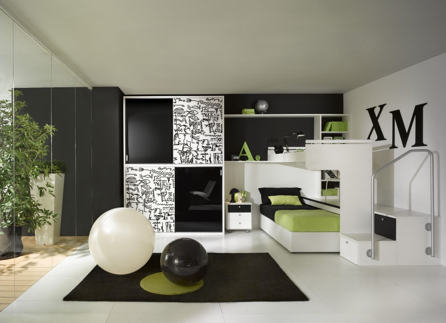 White Children S Bedroom Furniture Set Uni Arcamagica 1