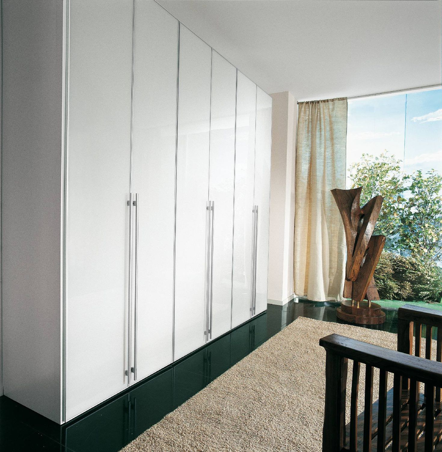 Contemporary wardrobe / wooden / lacquered wood / with swing doors ...
