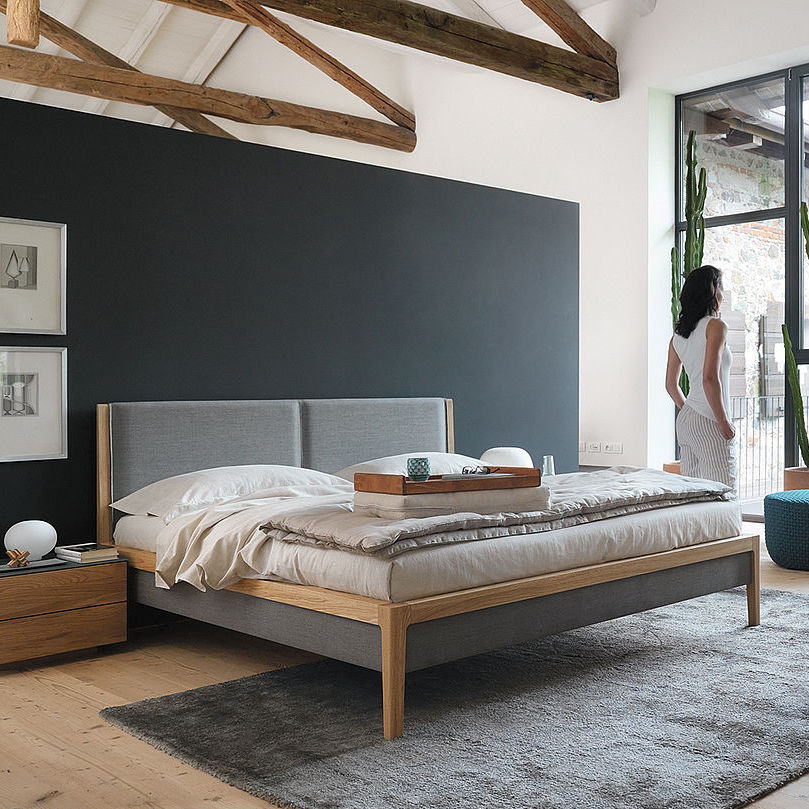 Double Bed Contemporary Upholstered With Headboard Mylon By Jacob Strobel