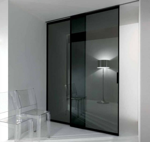 Indoor door / sliding / glass / double - PAVILION MINIMAL by Antonio ...
