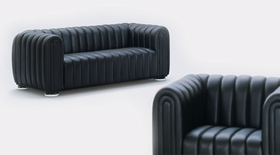 Contemporary Sofa Leather 3 Seater Black