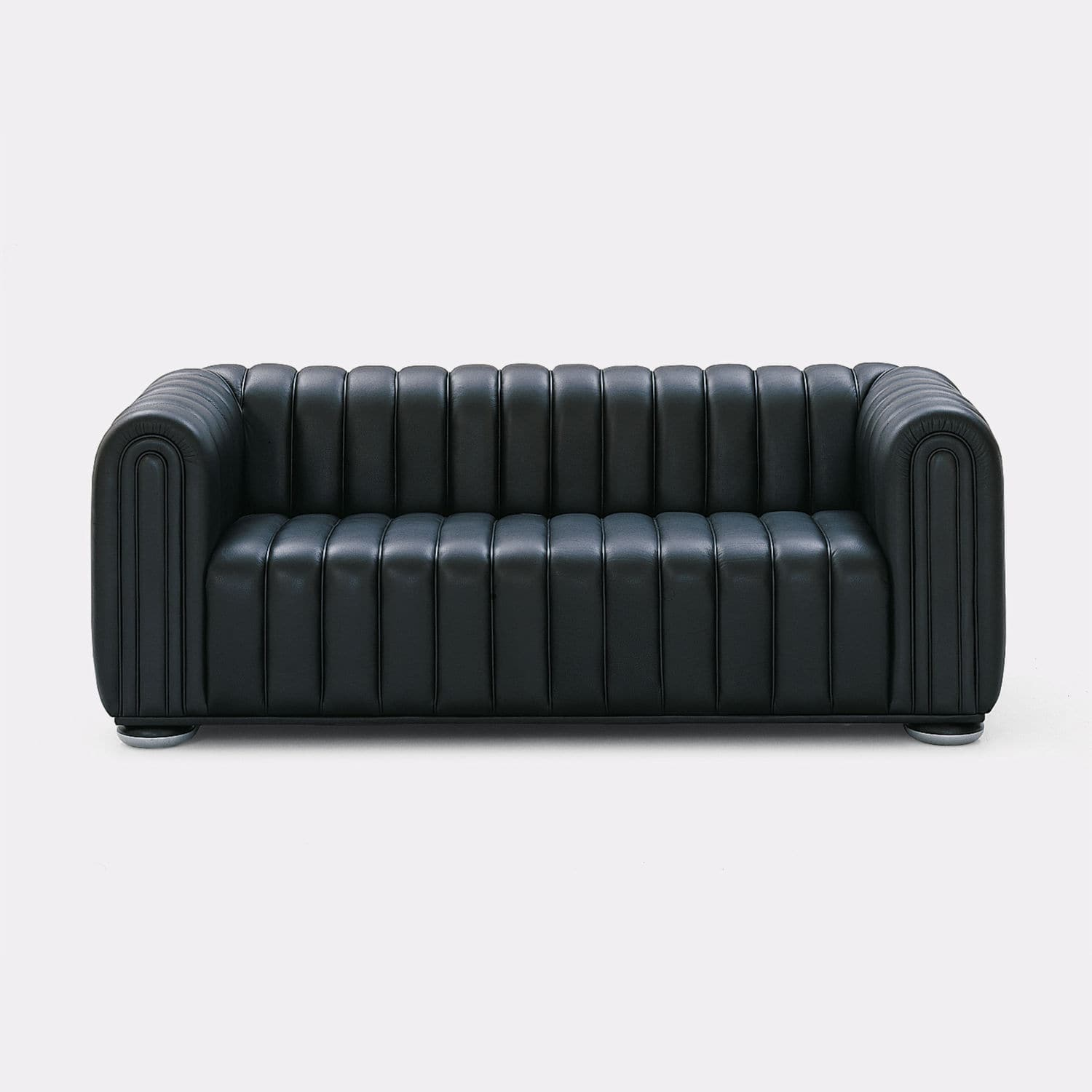 Contemporary Sofa Leather 3 Seater Black Club 1910 By Josef Hoffmann