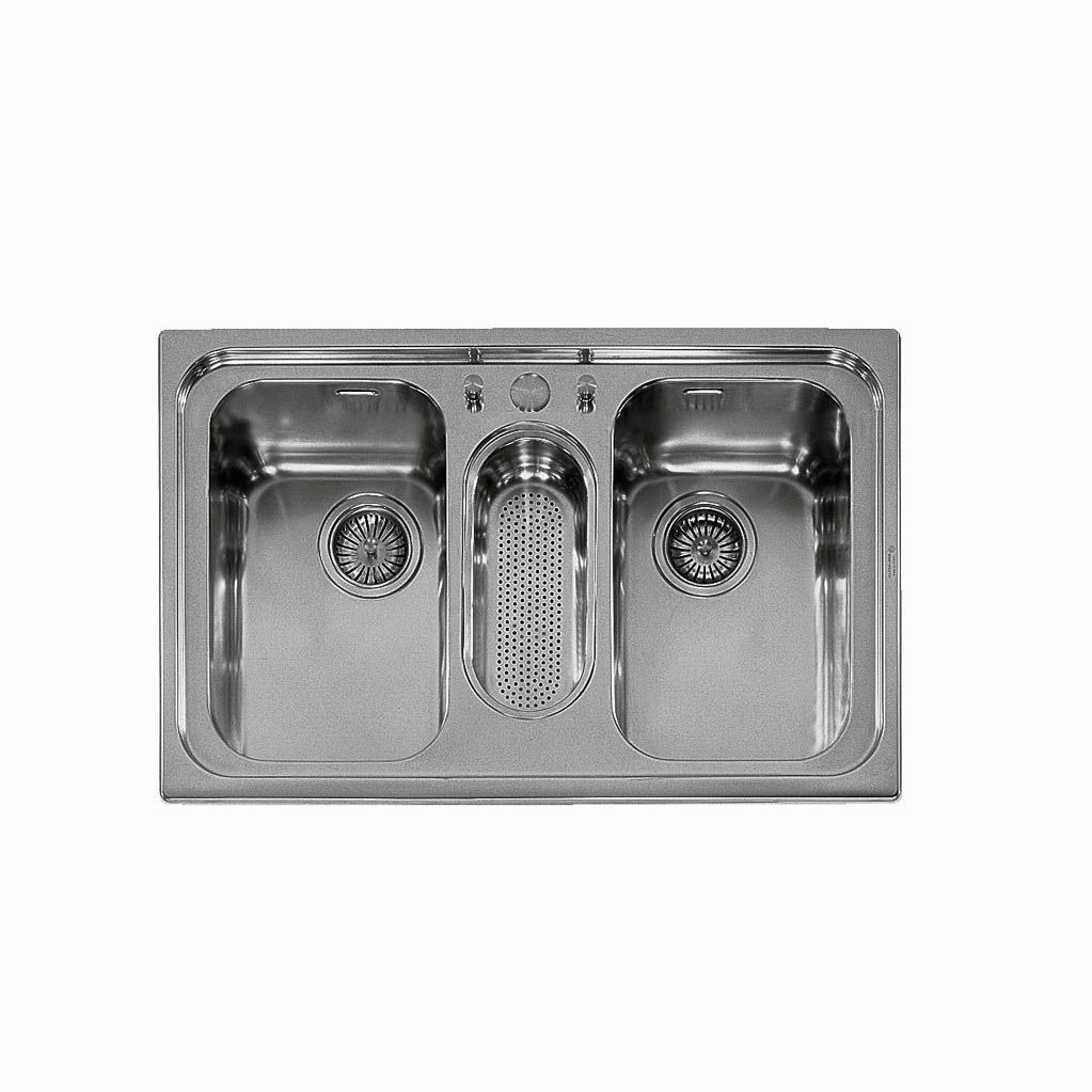 triple-bowl kitchen sink / stainless steel / with drainboard