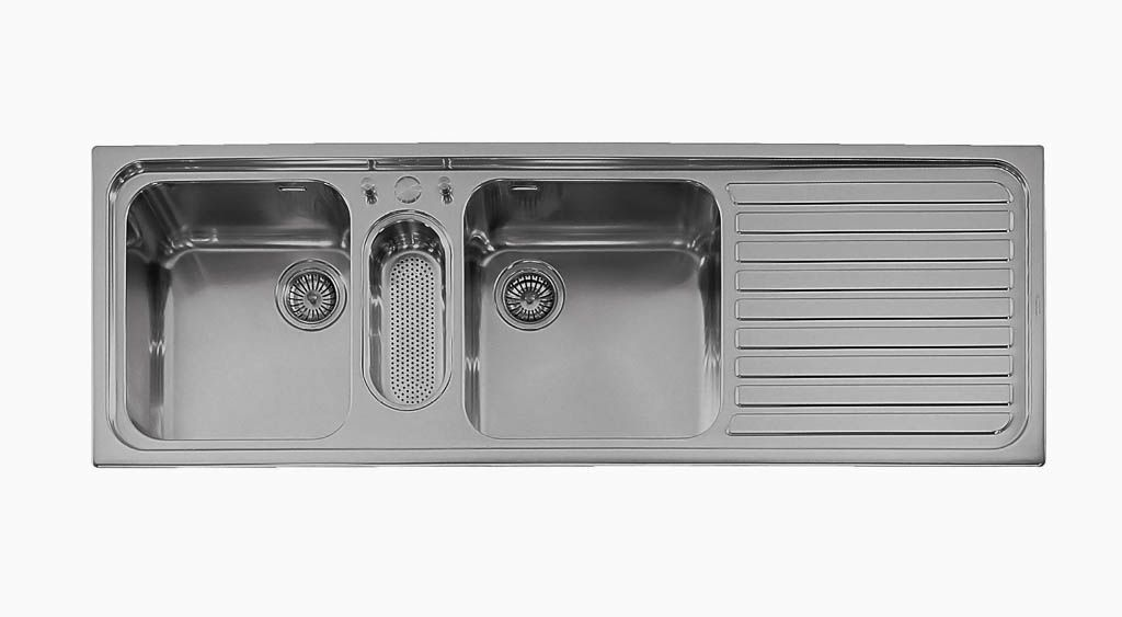 Triple Bowl Kitchen Sink / Stainless Steel / With Drainboard ...