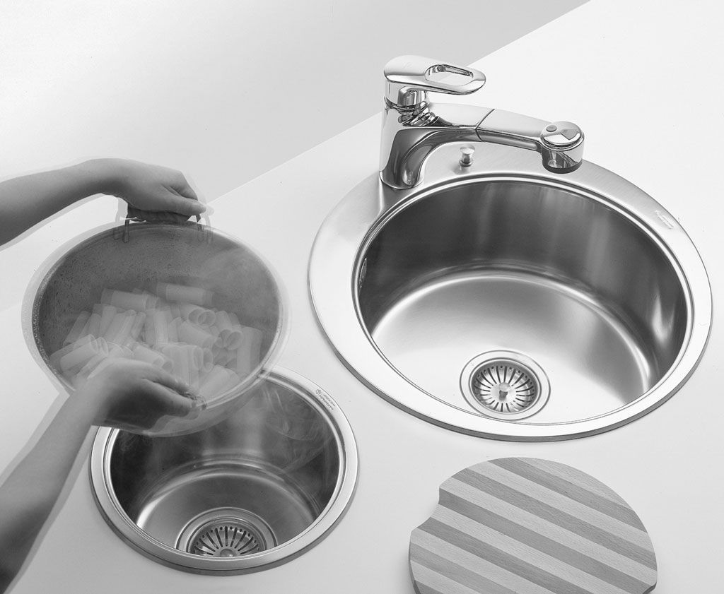 Double kitchen sink / stainless steel / round - OUTLET : BOWLS ...