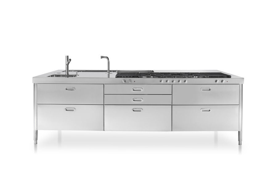 Contemporary kitchen island UNIT 150X280 ALPES INOX