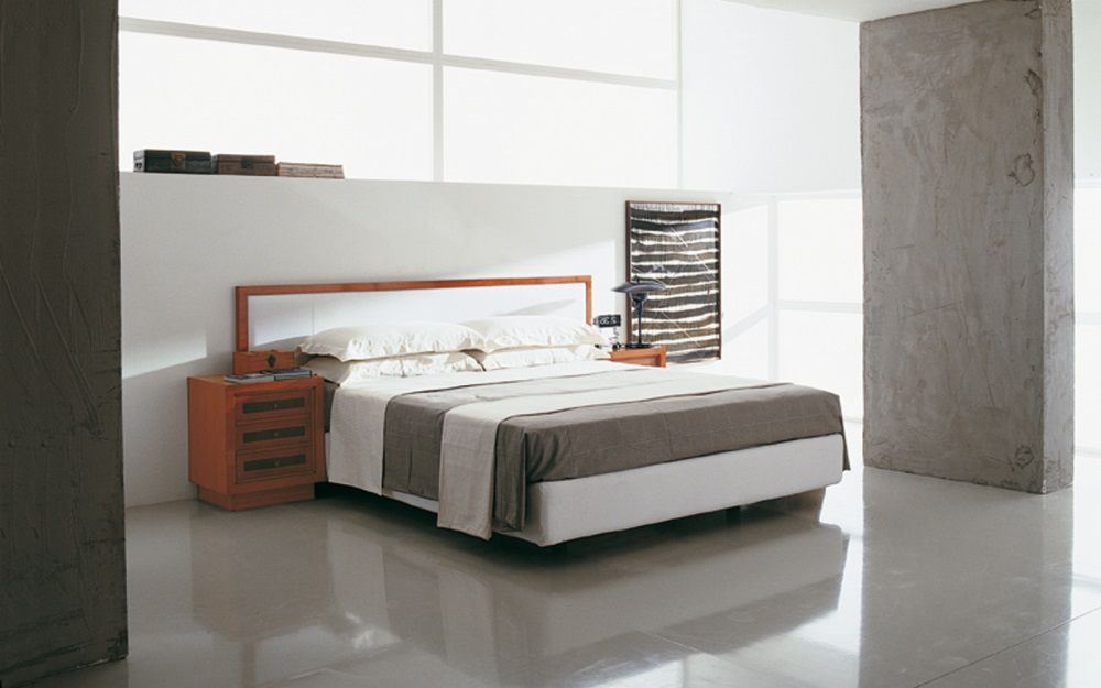 Double bed / contemporary / integrated bedside table / cherrywood ...