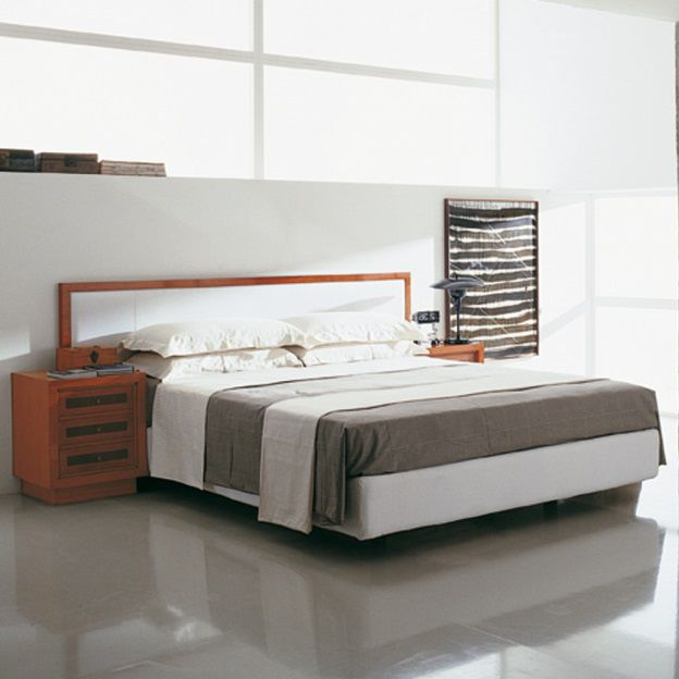 Double Bed Contemporary With Integrated Bedside Table Cherrywood