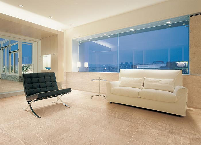 Living Room Tile Floor Porcelain Stoneware Polished Quarzite Beige