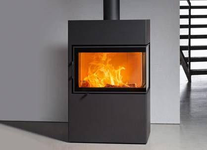 austroflamm integra auger motor wood heating stove contemporary corner steel dexter 4629 9029317