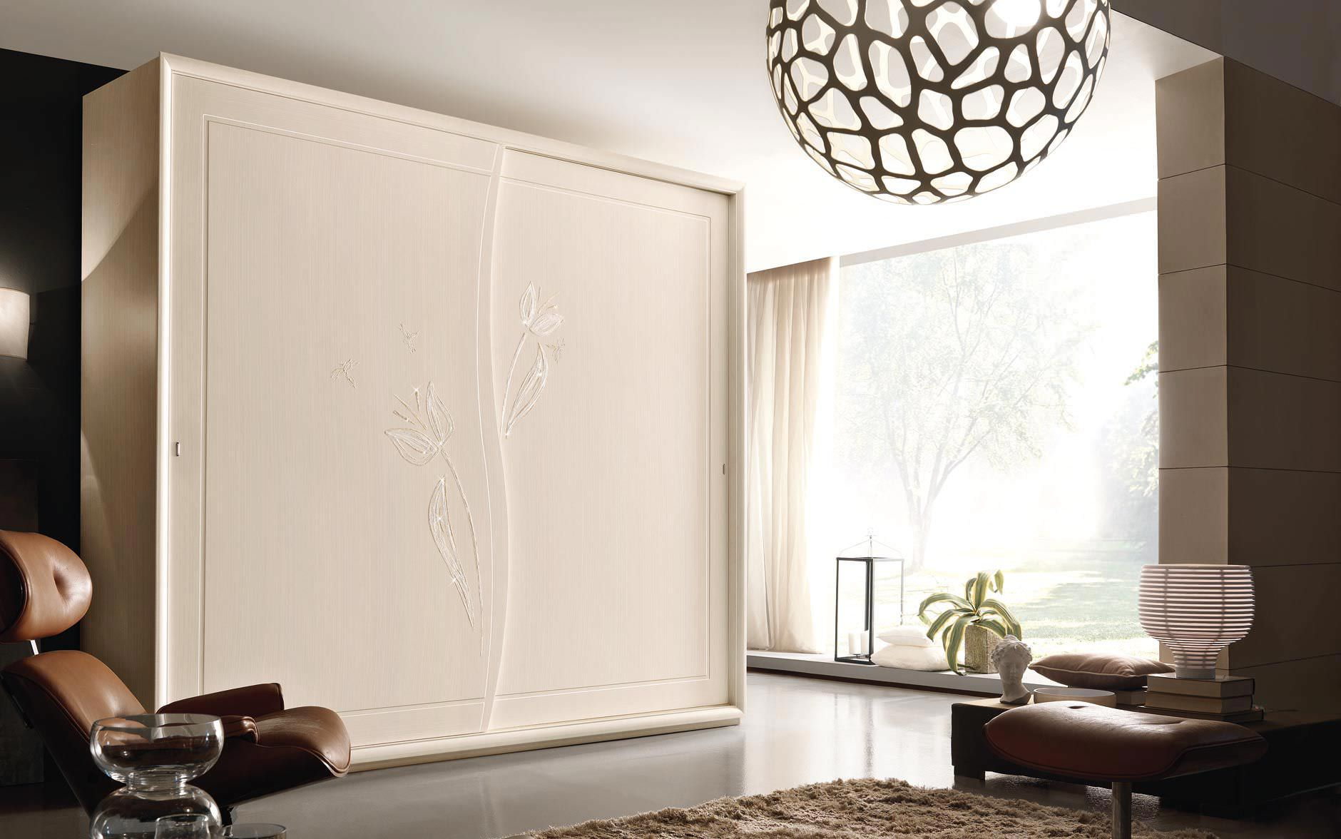 Traditional wardrobe / wooden / sliding door - LYRIA - benedetti MOBILI