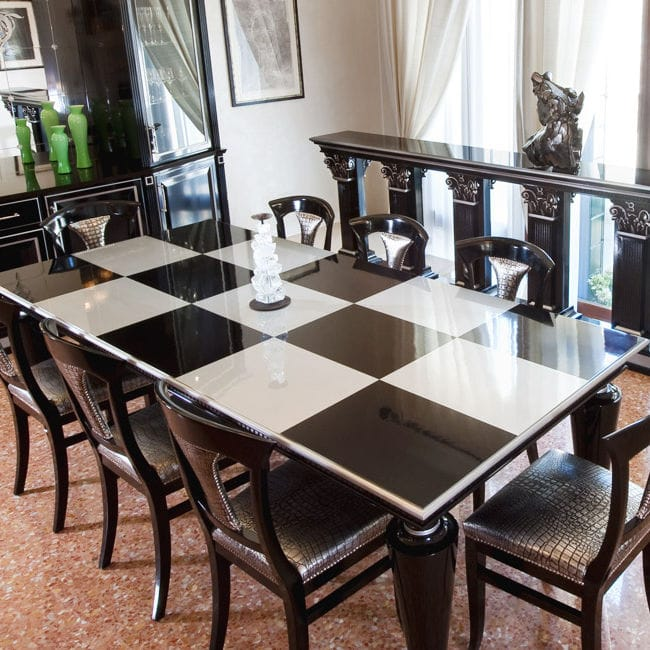 Traditional Dining Table Lacquered Wood Rectangular GRAND - Traditional dining table with contemporary chairs