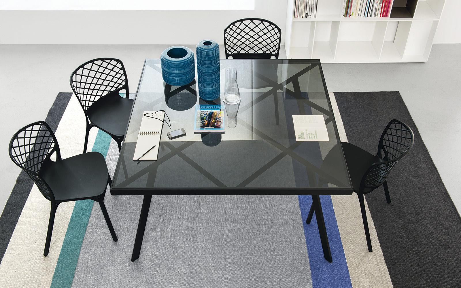 Contemporary Dining Table Glass Metal Rectangular