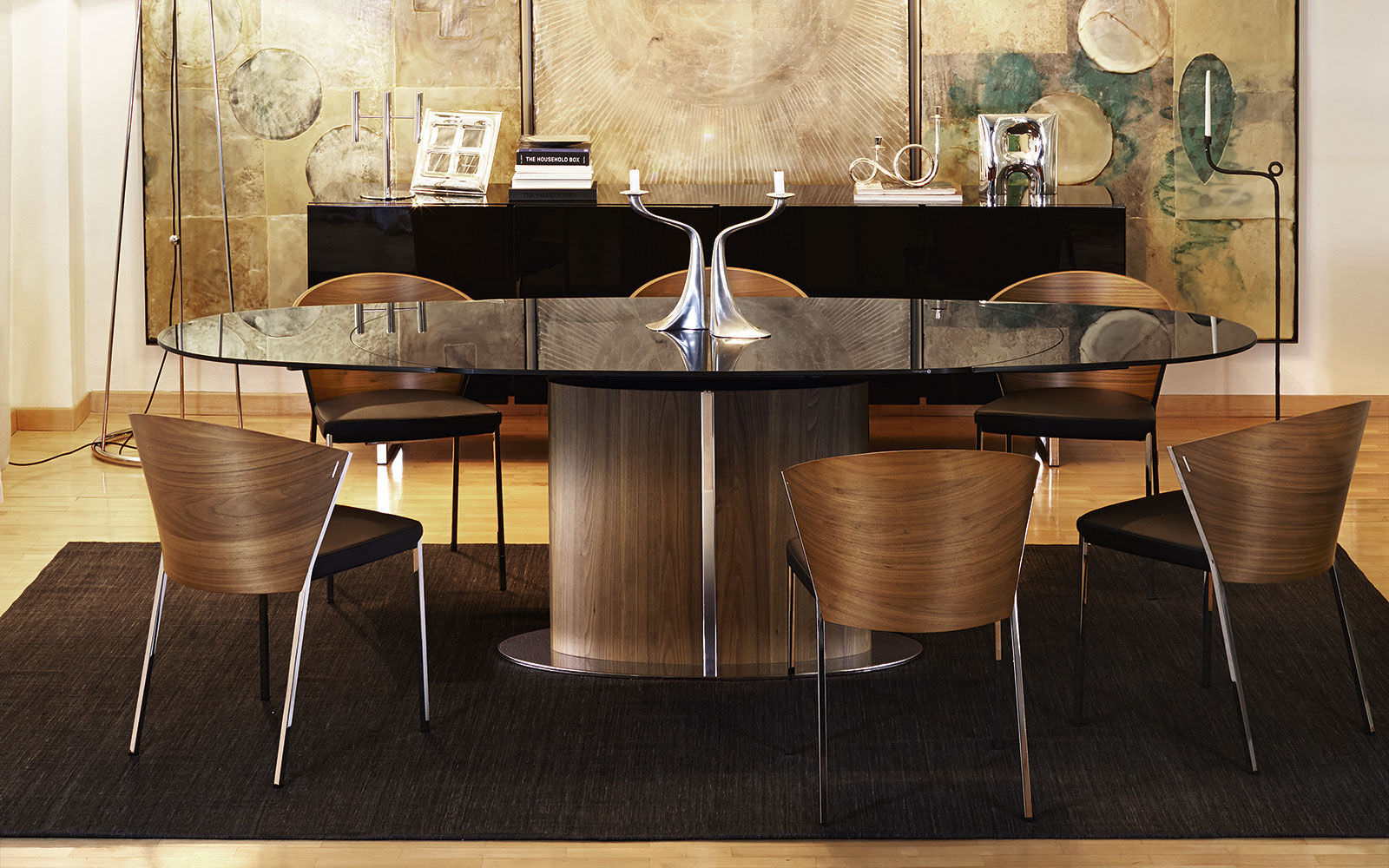 ... Contemporary Dining Table / Tempered Glass / Oval / Extending ...