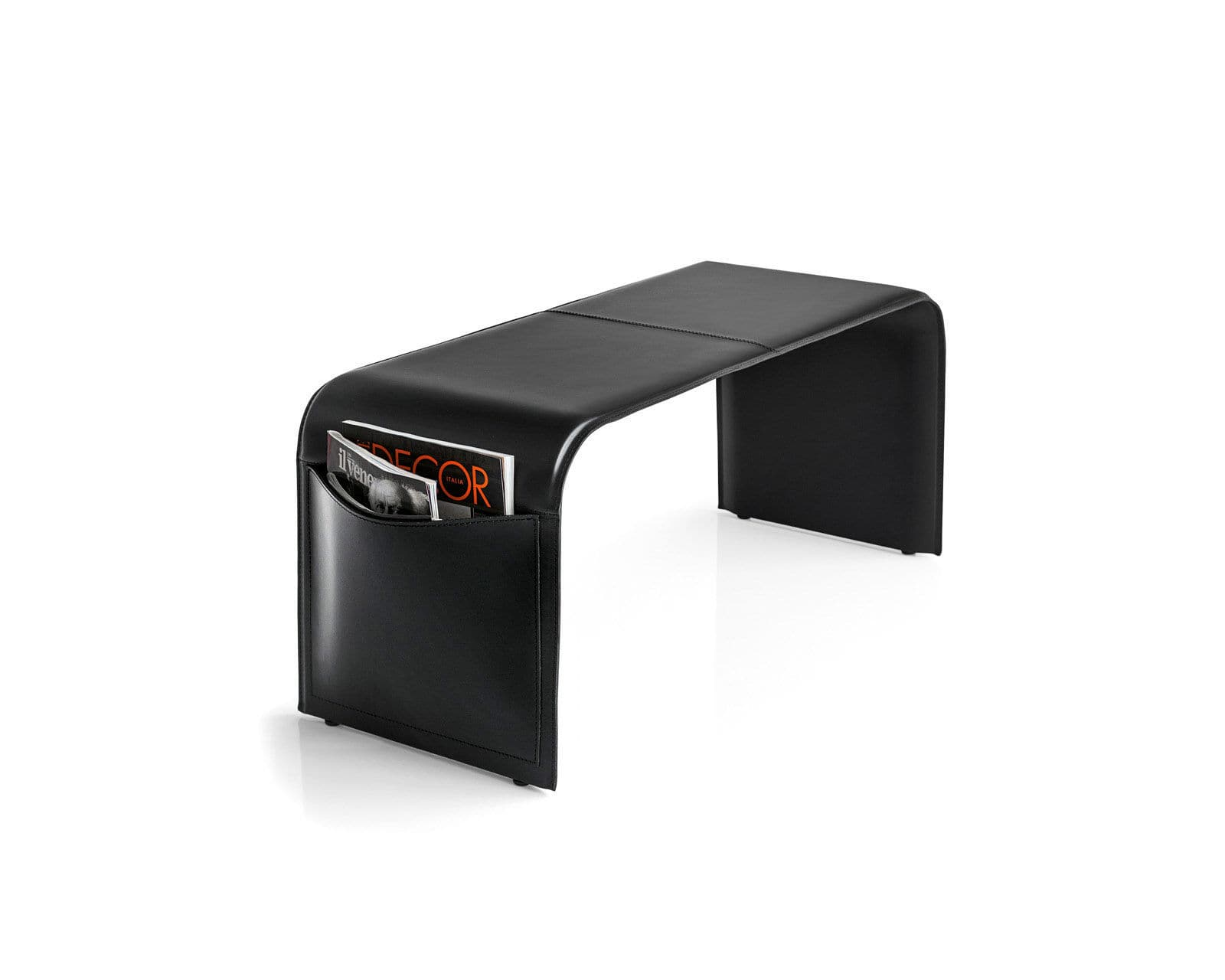 Contemporary Upholstered Bench Leather With Magazine Rack  # Monte Pio Muebles