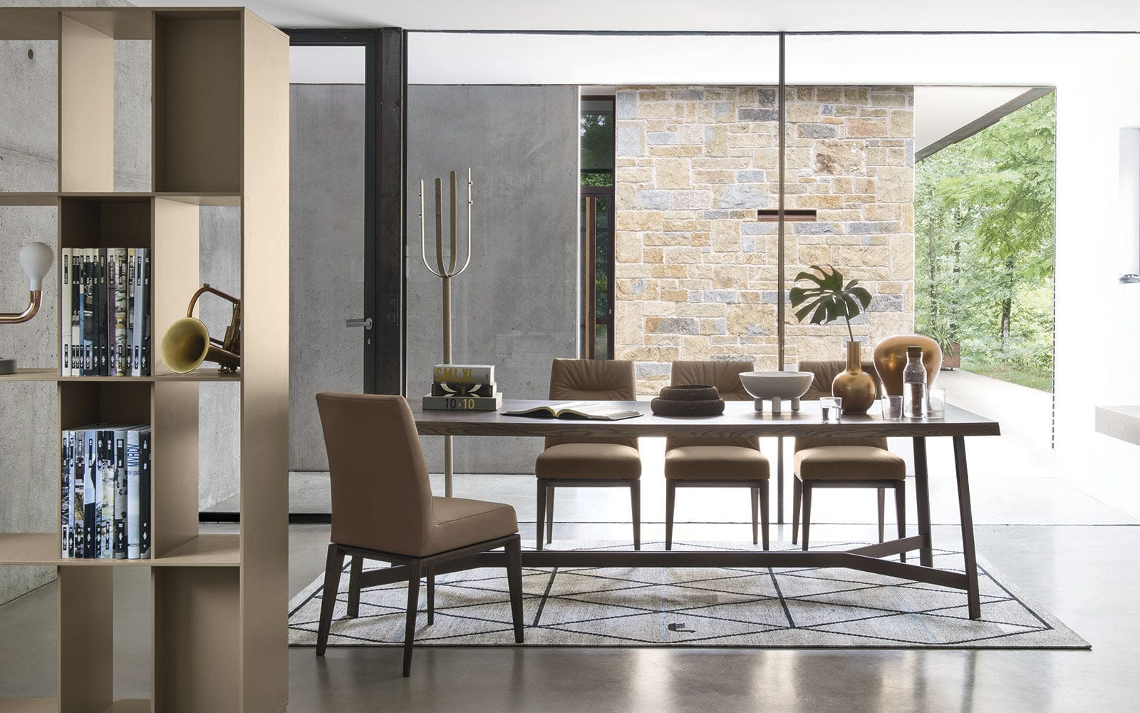 Contemporary dining table   wooden   metal   rectangular STATUS by  Busetti Garuti Redaelli calligaris. Contemporary dining table   wooden   metal   rectangular   STATUS