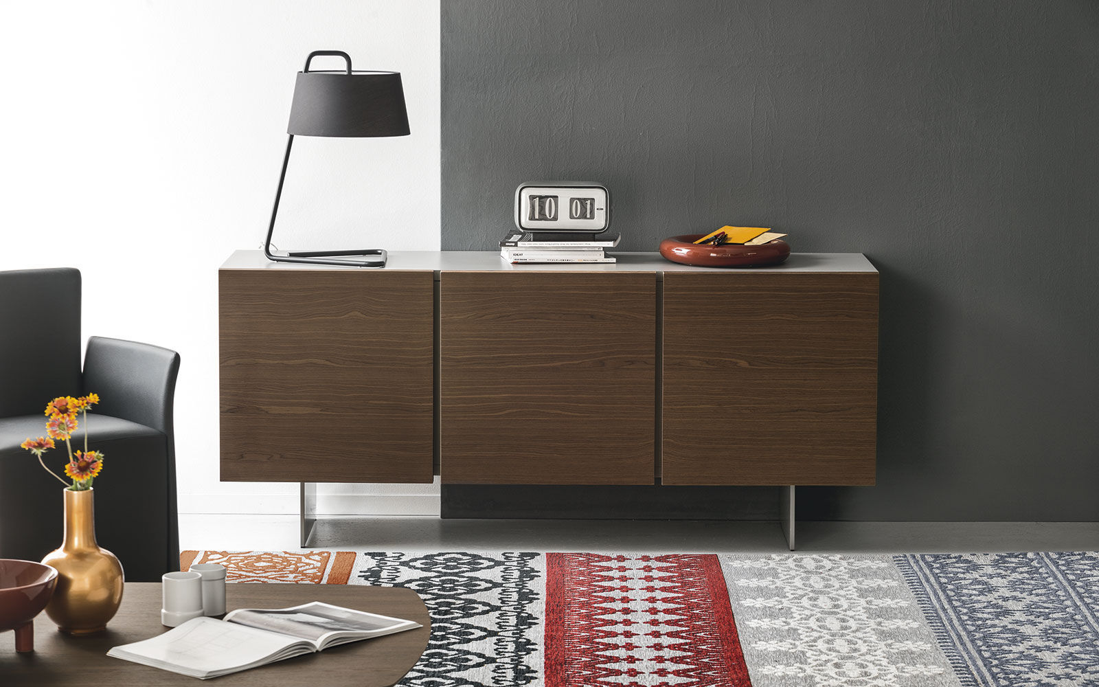 Contemporary Sideboard Wooden Metal White Sipario Calligaris - Calligaris-seattle-storage-cupboard-with-four-doors