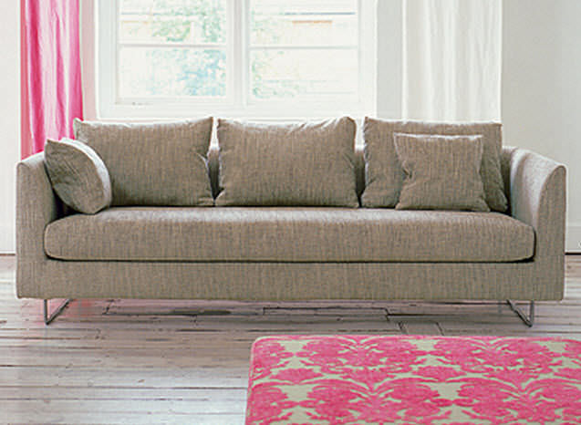 Contemporary Sofa Fabric 3 Seater Beige Balance