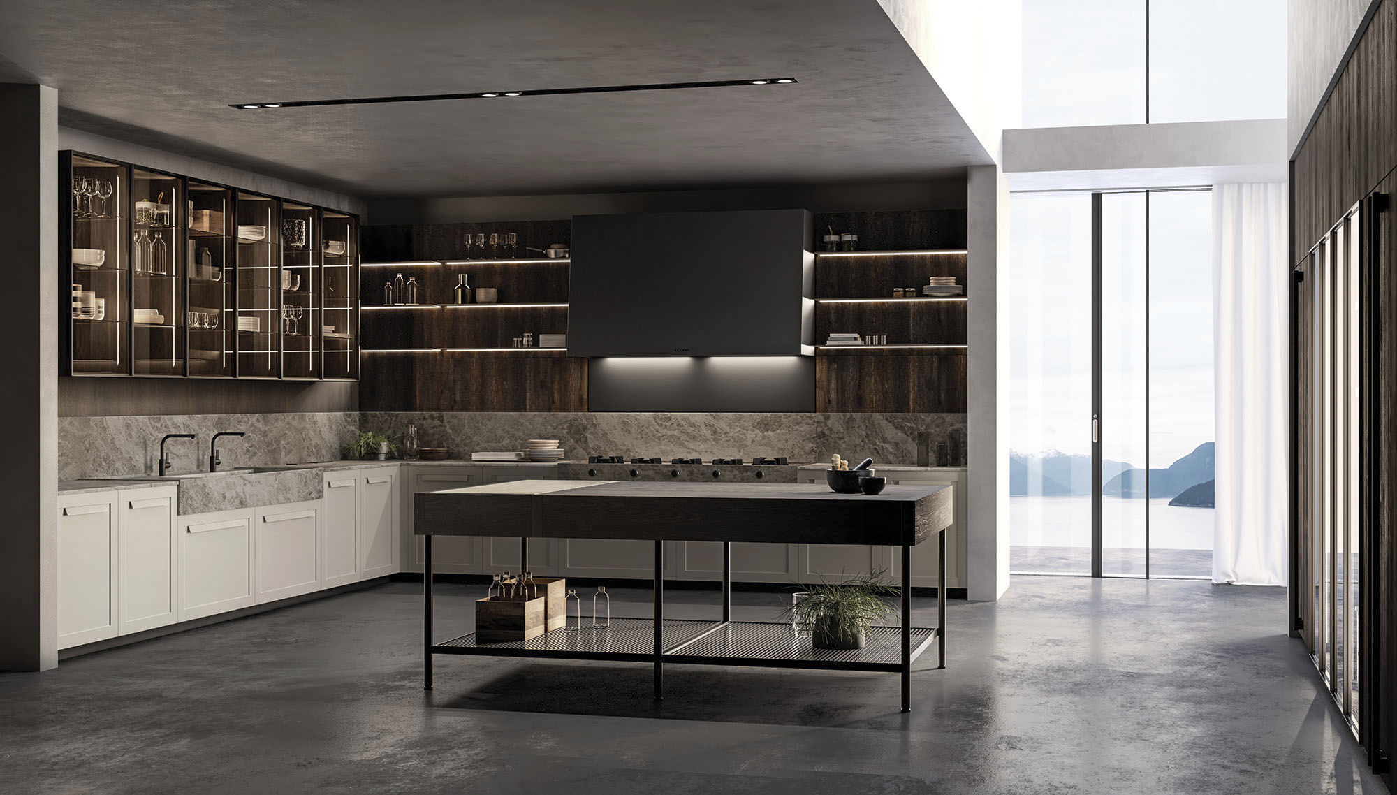 Effeti contemporary kitchen / wooden / island / lacquered - impronta