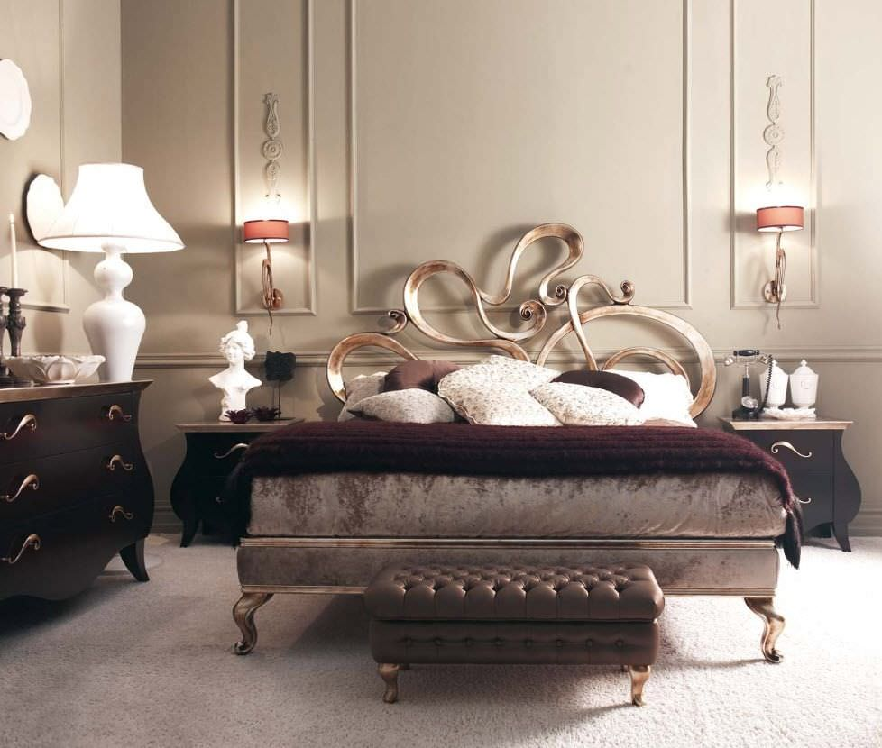 Double bed furniture design - Double Bed New Baroque Design Wooden Giselle