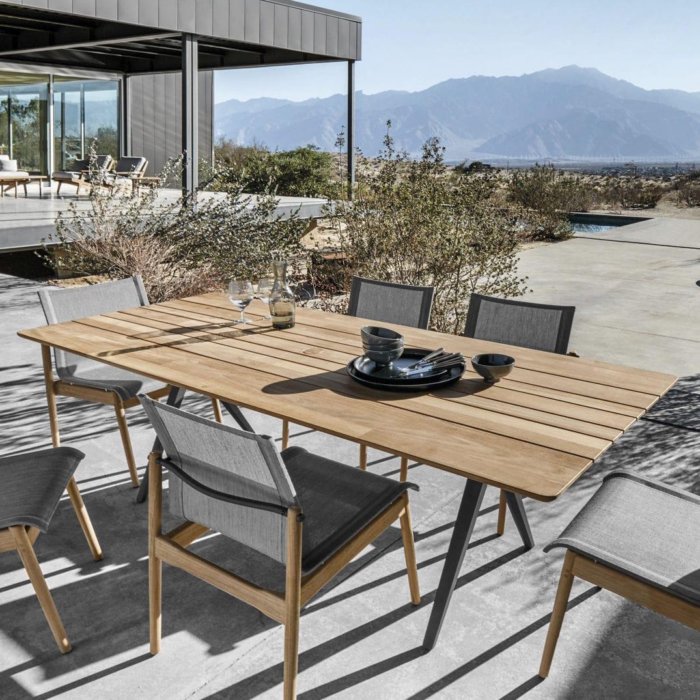 Contemporary Table / Teak / Aluminum / Rectangular   SPLIT
