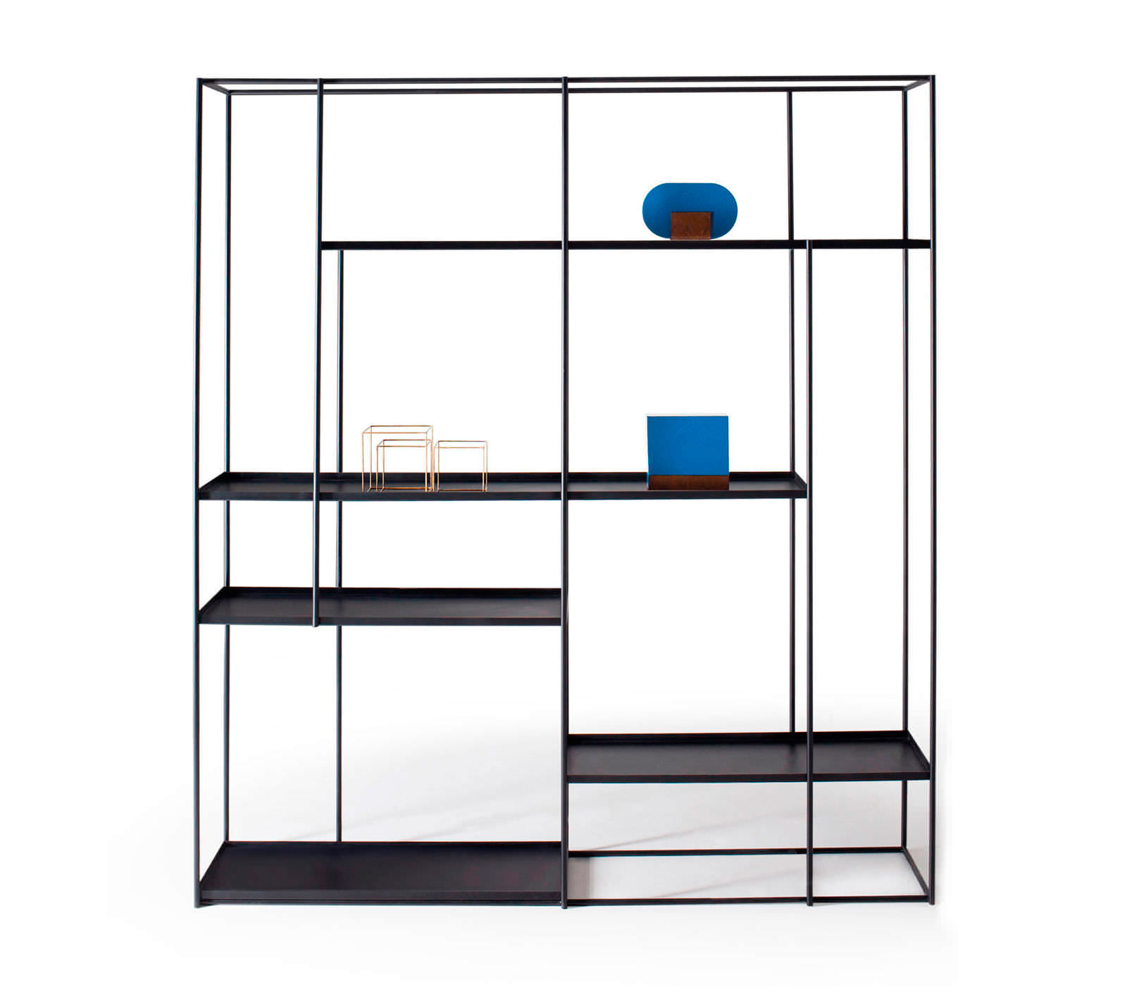 Regal Modern modular shelf contemporary walnut metal hill by studiopepe