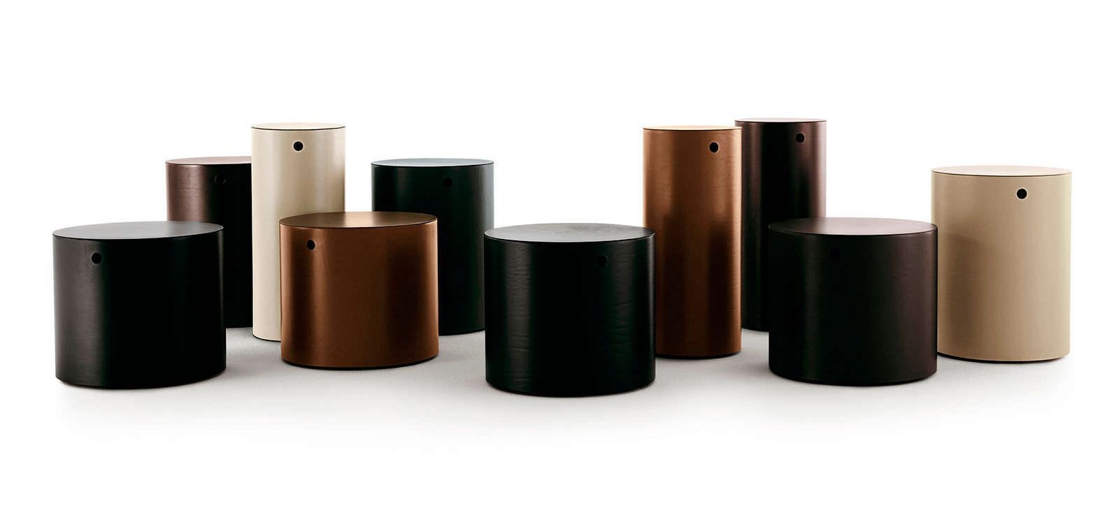 contemporary side table metal leather round - Leather Side Tables