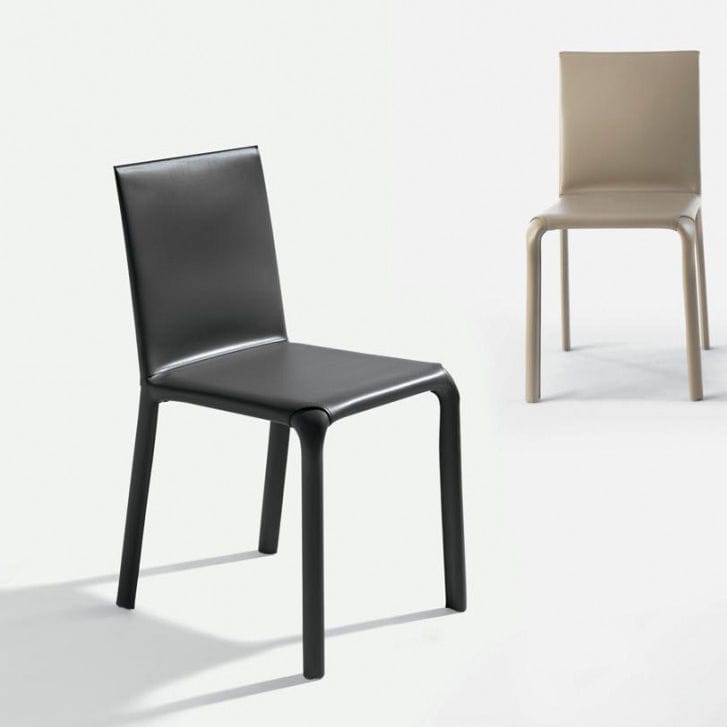 Contemporary Chair / Upholstered / Leather / Metal   ALICE
