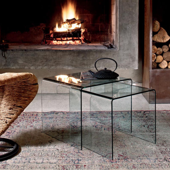 Contemporary Nesting Tables / Curved Glass / Rectangular   IGLOO
