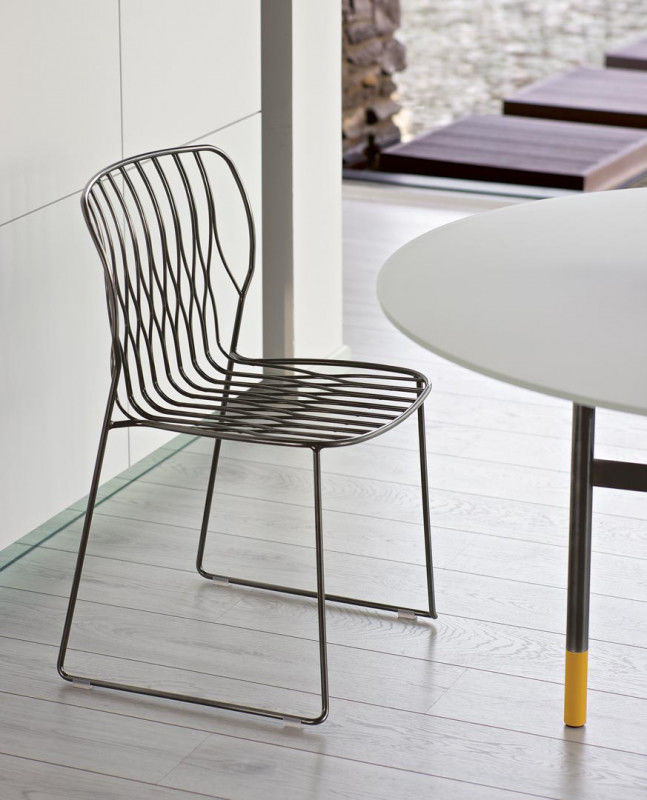 Contemporary chair / stackable / sled base / lacquered metal ...