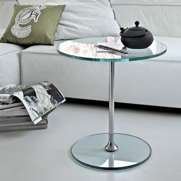 Contemporary Side Table / Glass / Lacquered Metal / Round   SIRT