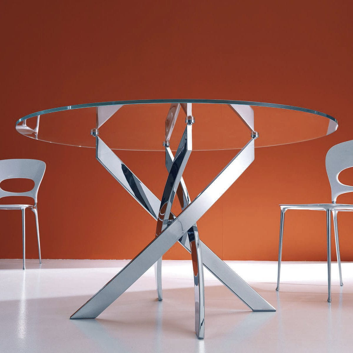 Contemporary dining table / glass / round - BARONE - BONTEMPI CASA ...