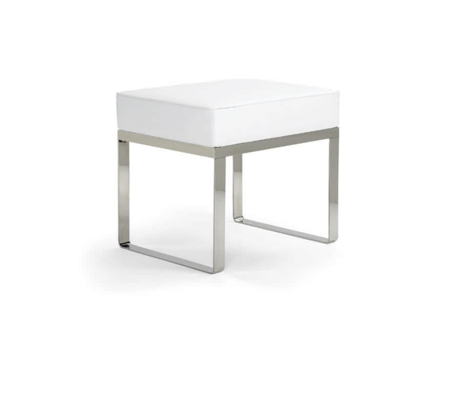Polished stainless steel shower stool / beech / leather / fabric ...