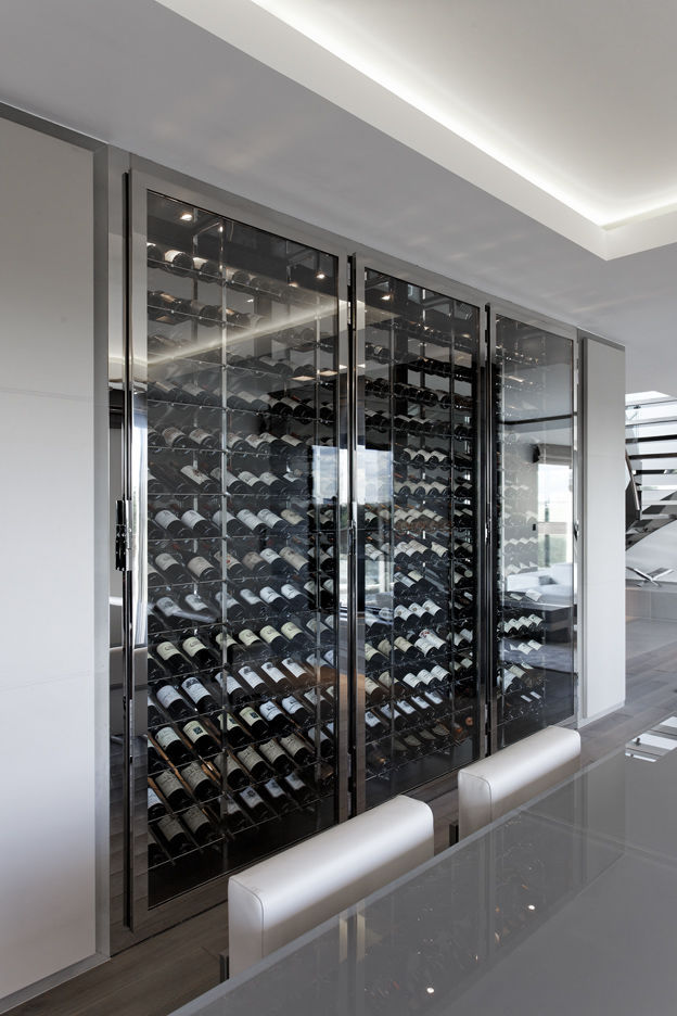 Mur Cave A Vin commercial wine cabinet / built-in / stainless steel / custom