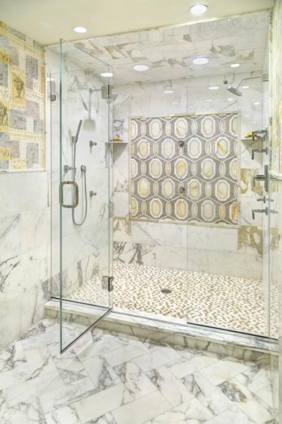 Bathroom tile / wall / natural stone / geometric pattern - CAPRI ...
