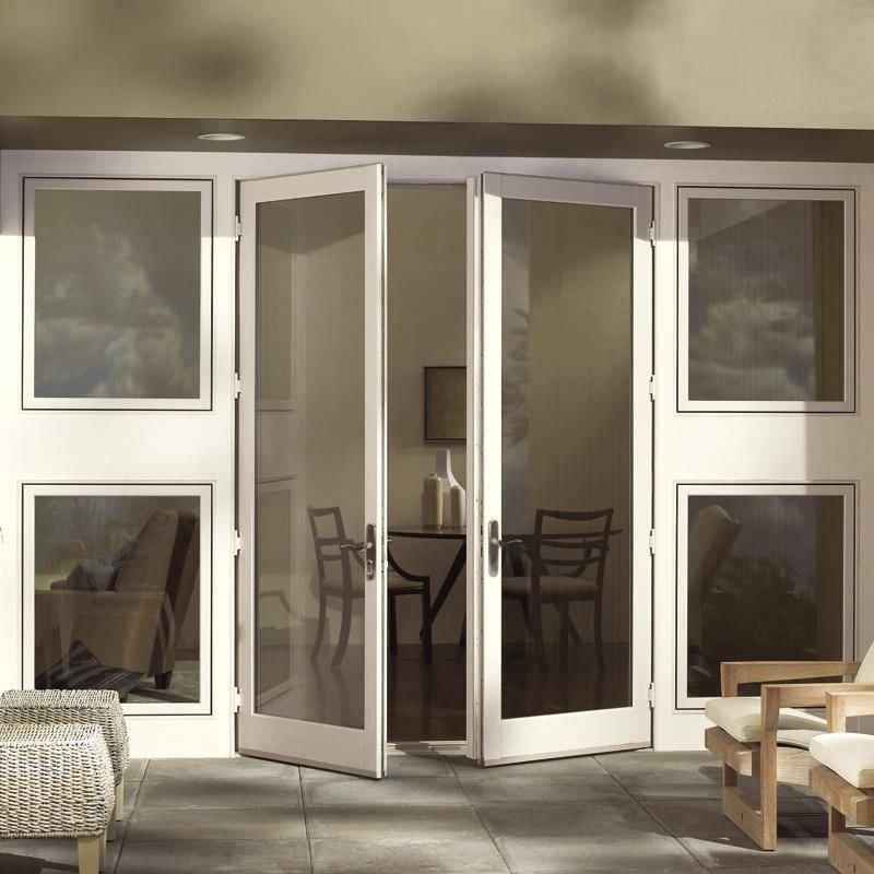 Swing French Door Wooden Fiberglass Double Glazed Wood