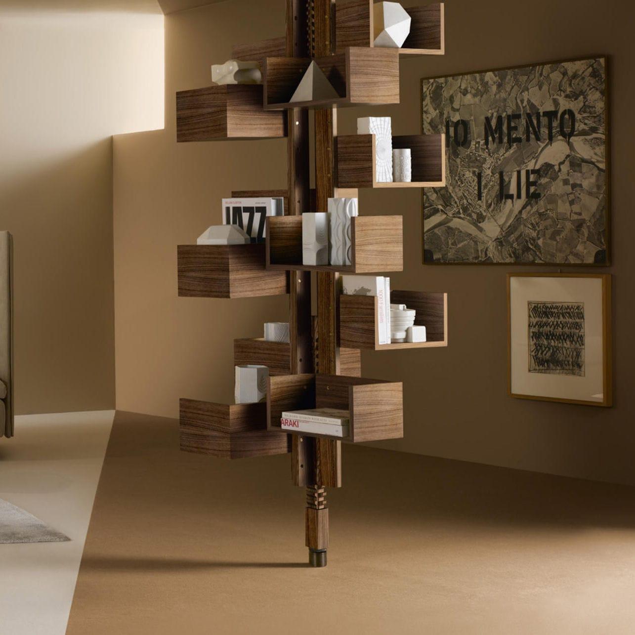 Floor To Ceiling Bookcase Contemporary Mdf Wood Veneer Albero By Gianfranco Frattini