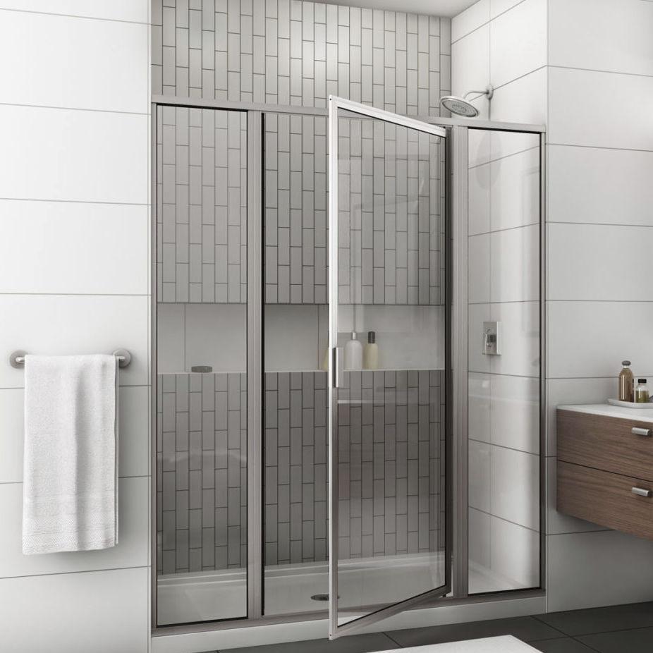 Swing shower screen / for alcoves / glass - 795 / 395 - Alumax Bath ...