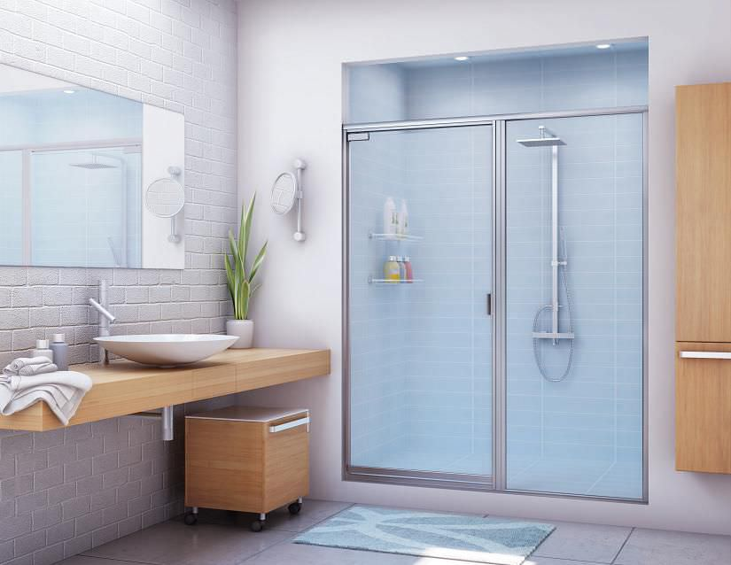 Swing shower screen / for alcoves - 391 - Alumax Bath Enclosures