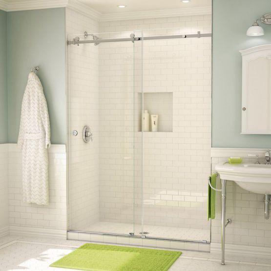 Sliding shower screen / for alcoves / glass - PL70 - Alumax Bath ...