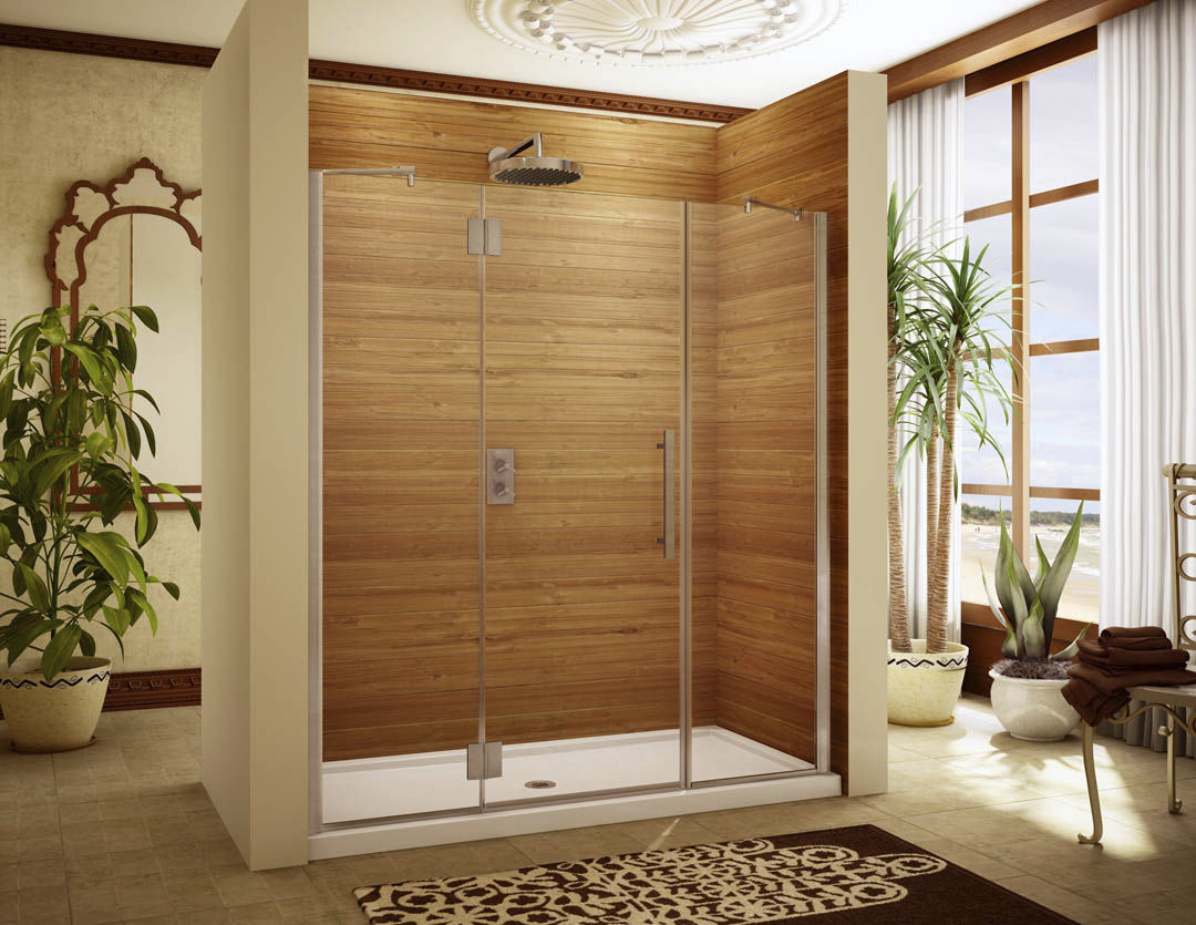 Swing shower screen / for alcoves - MOANA: M-PDP95X - Alumax Bath ...