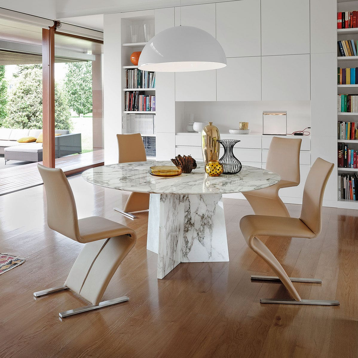 Contemporary dining table / glass / natural stone / round 1515 TADAO by  P.Draenert ...