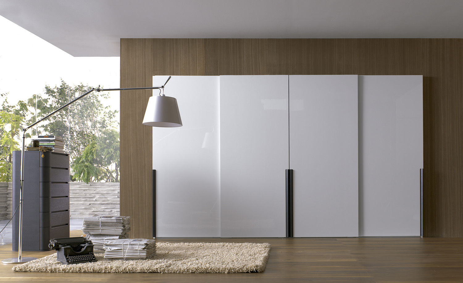 Wood sliding doors -  Contemporary Wardrobe Wooden Lacquered Wood Sliding Door Chic By Fernando Salas And Jordi