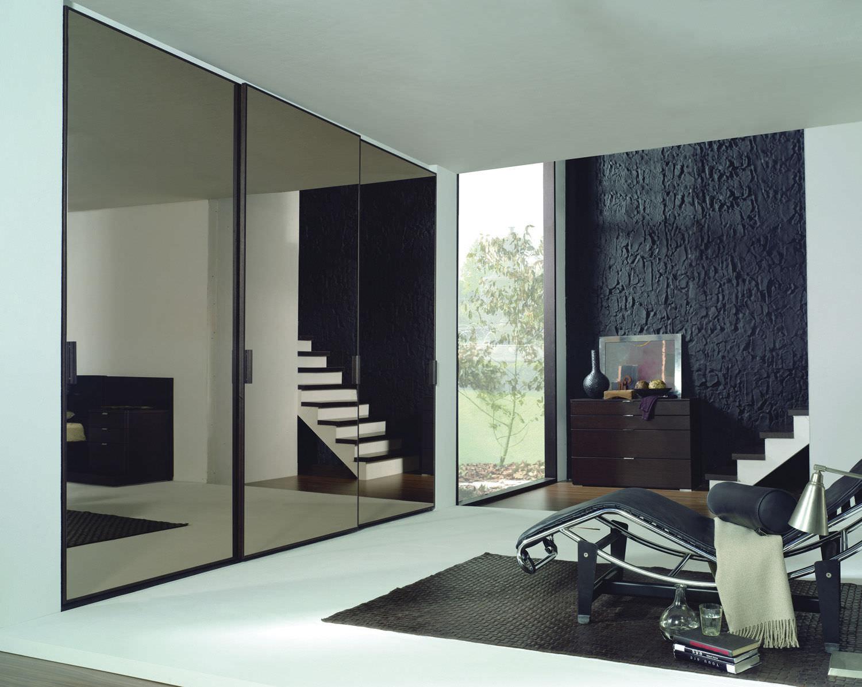Contemporary Wardrobe Wooden With Sliding Door Mirrored