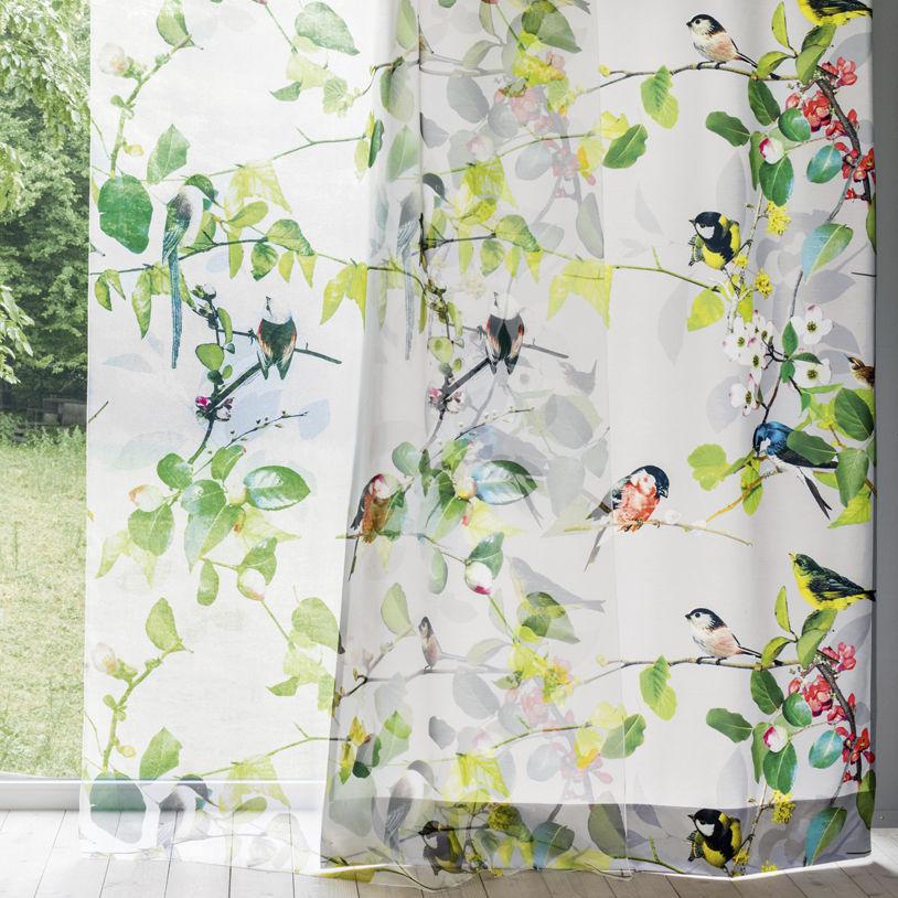 Bird sheer curtains - Patterned Sheer Curtain Fabric Trevira Cs Fire Rated Ophelia Cr Ation Baumann